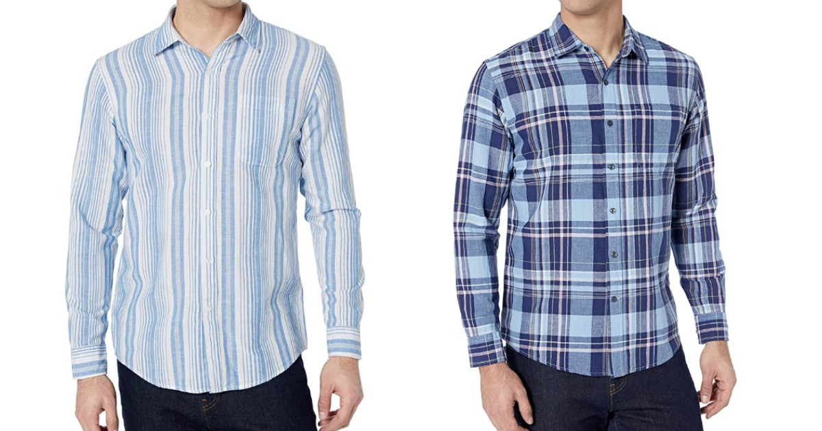 Amazon Essentials Button Down Shirts in blue stripe or plaid