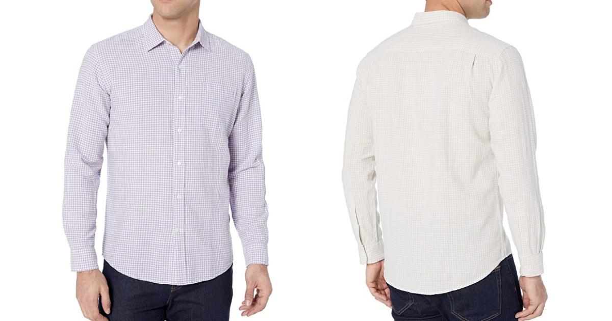 Amazon Essentials Button Down Shirts lavender and natural gingham