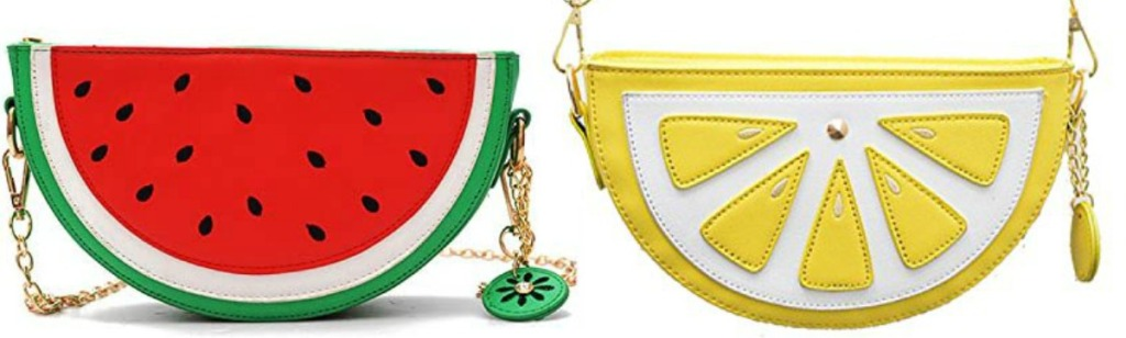 two Amazon slice crossbody purses - watermelon and lemon