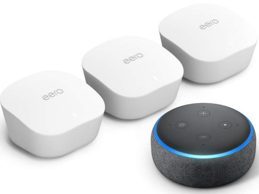 wifi router boxes and an amazon echo dot