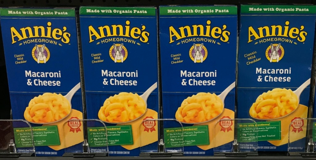 boxes of mac and cheese on store shelf