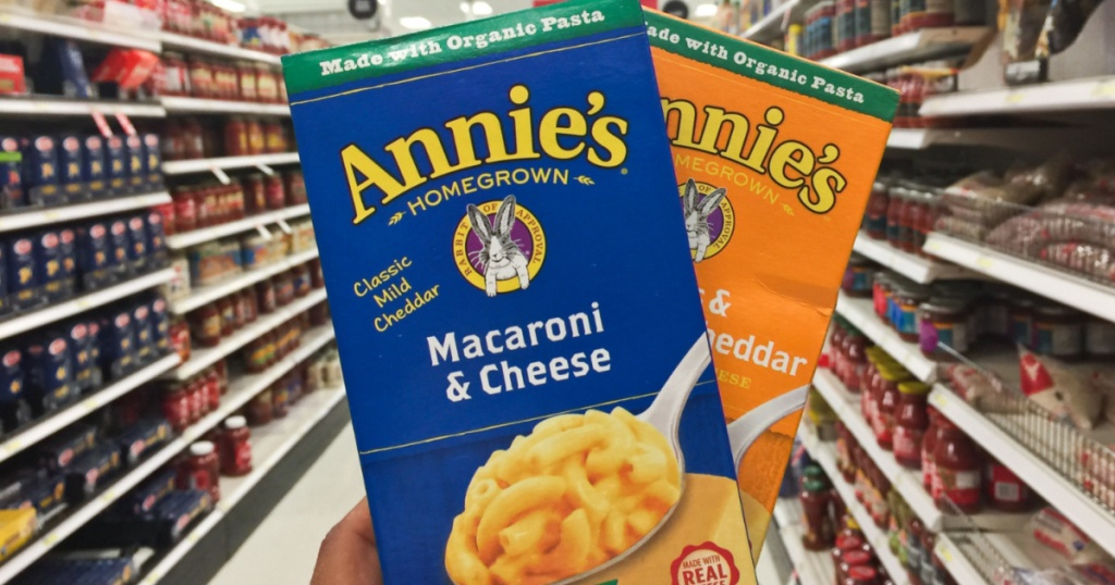 two boxes of mac and cheese in store aisle