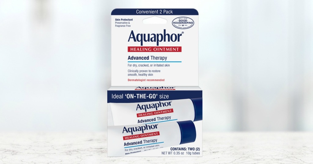 Package of Aquaphor Ointment on counter