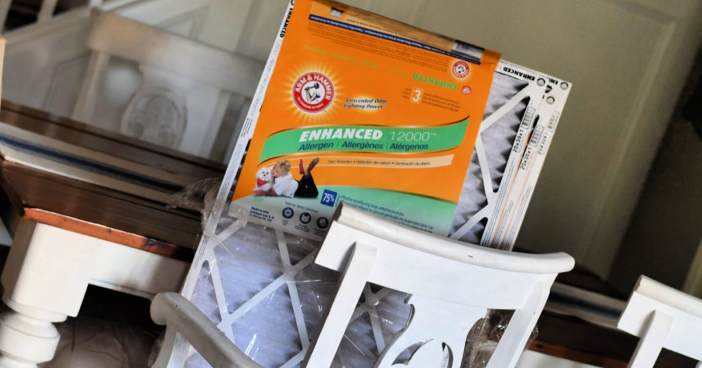 Arm & Hammer Air Filters on dining room chair