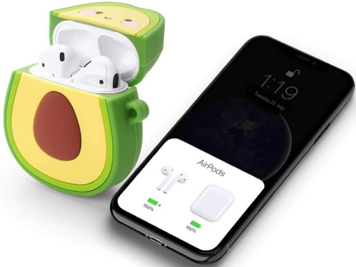 avocado shaped charging case with iphone next to it
