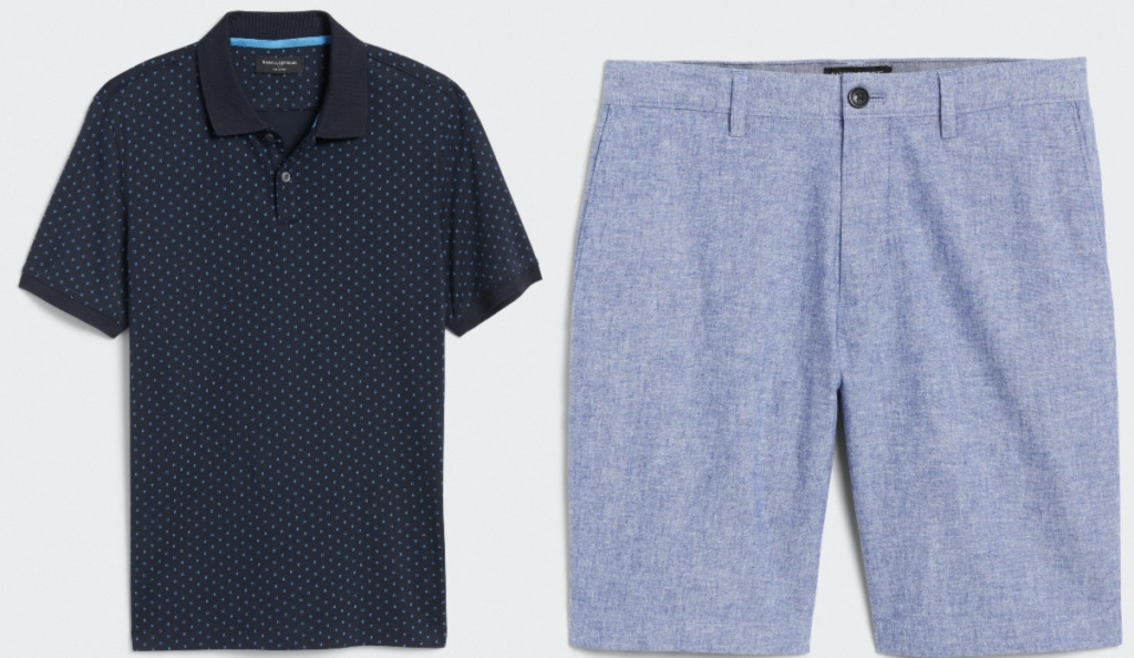 men's dark blue polka dot polo and men's blue linen shorts