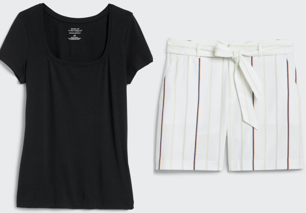 women's black top and women's white striped shorts