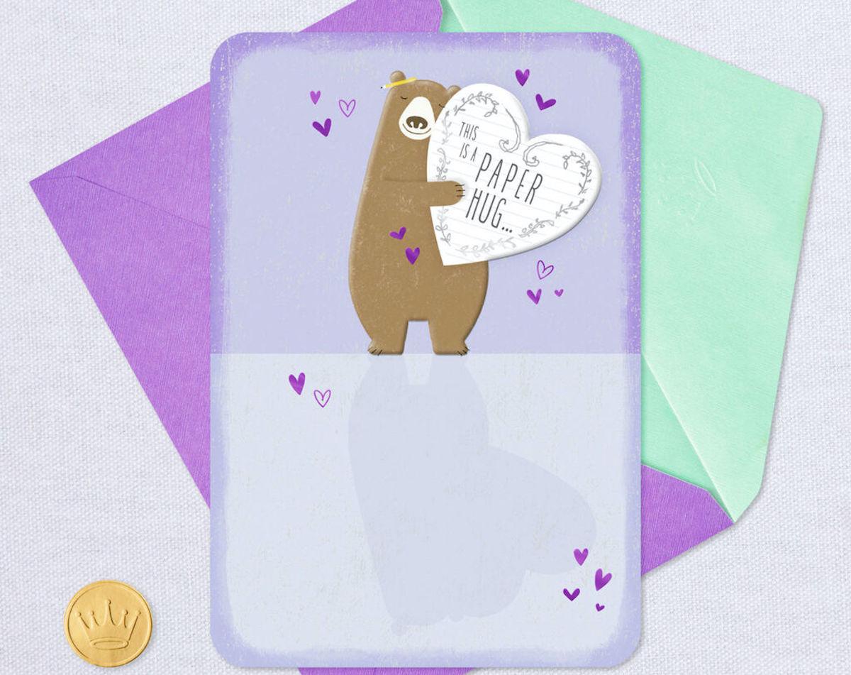 bear hug card with purple envelope