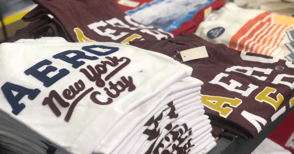 aeropostale shirts folded in store
