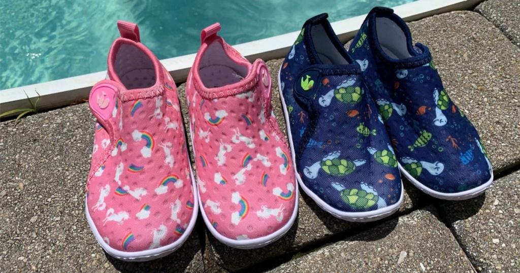 feetcity water shoes for baby pink and blue pair above pool