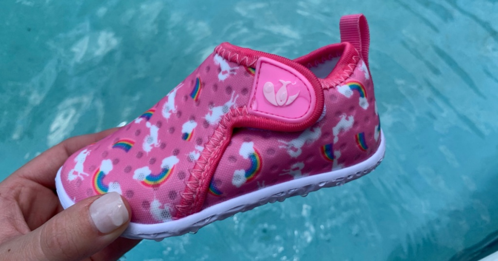 feetcity water shoes pink unicorn shoes above pool
