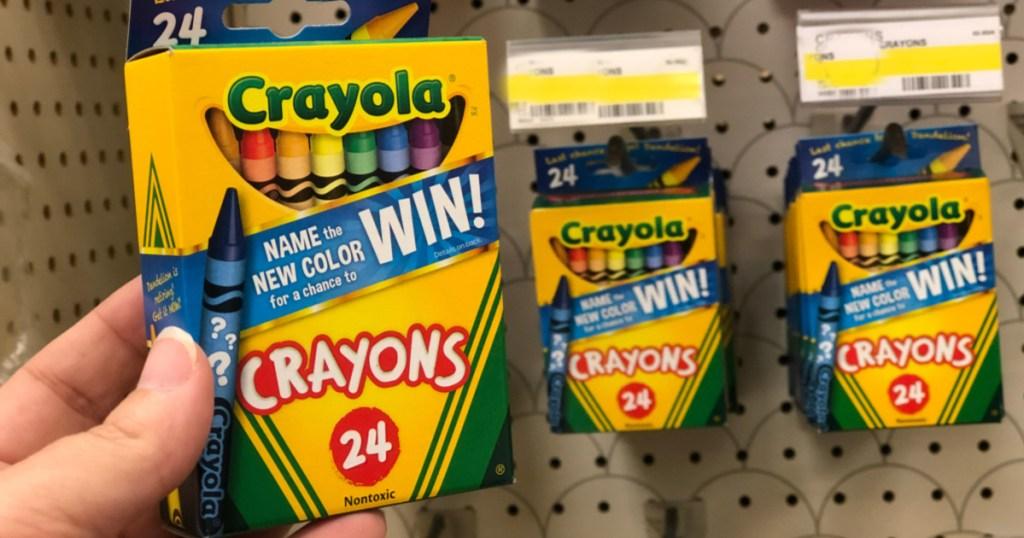 crayola crayons at store in hand