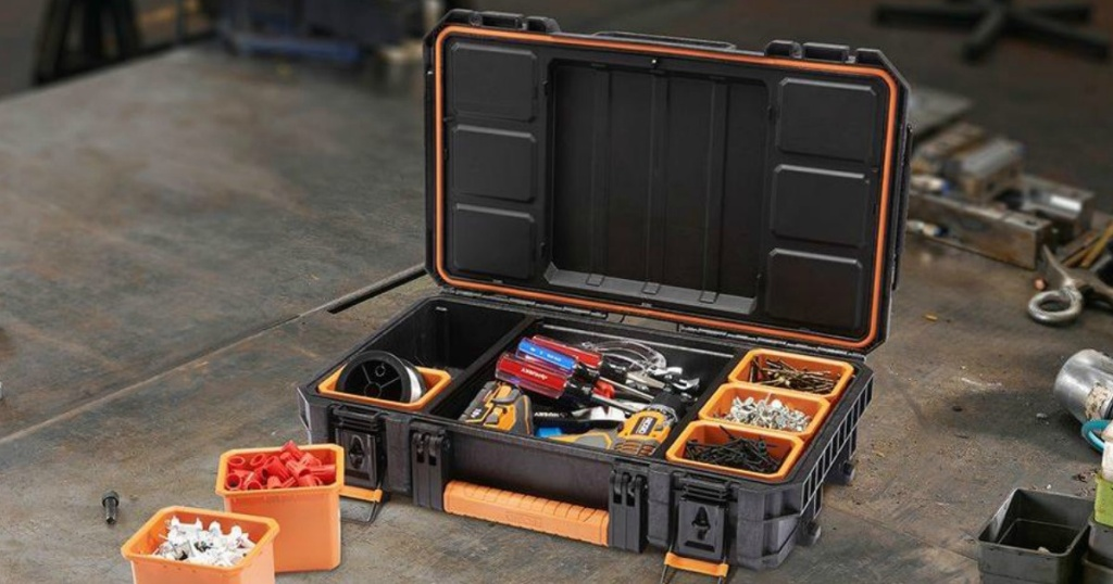 ridgid pro organizer at home depot opened with tools inside