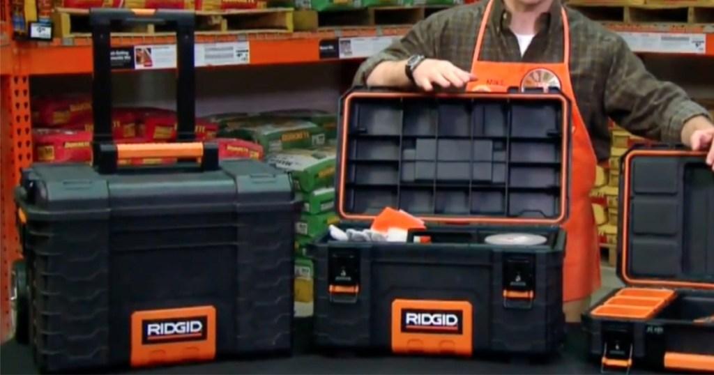 ridgid pro organizer tool box and gear cart black and orange