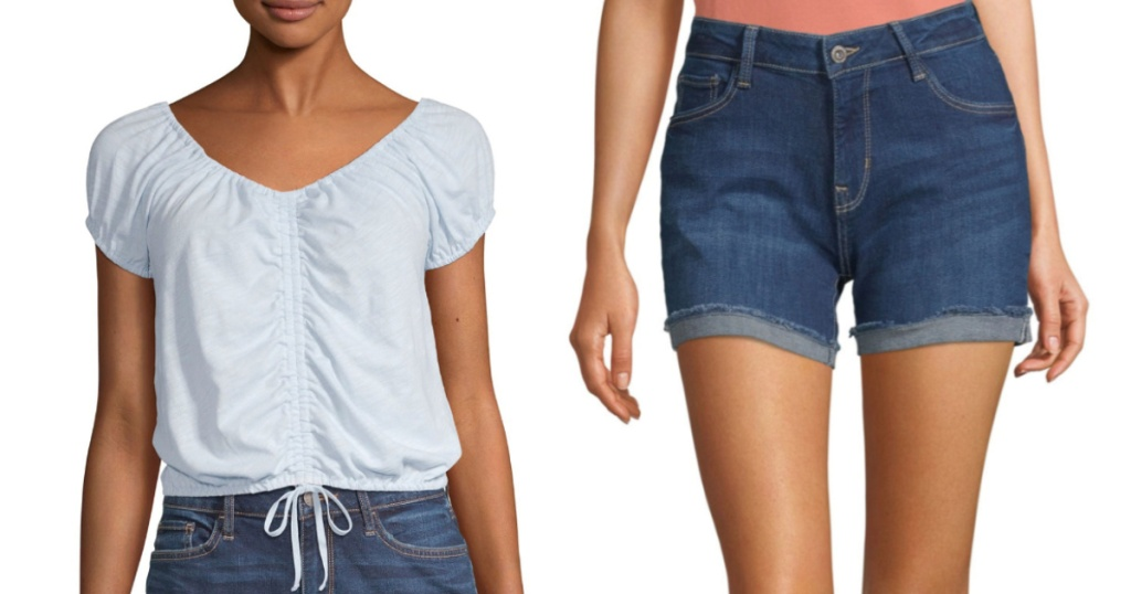 Arizona teen styles at JCPenney blue blouse denim shorts