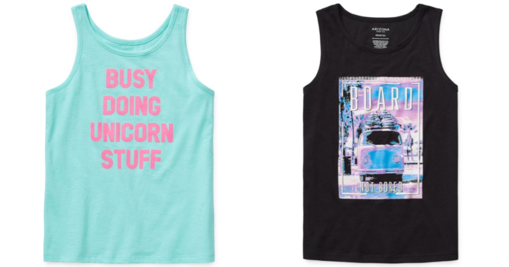Arizona kids styles at JCPenney blue and black tank tops