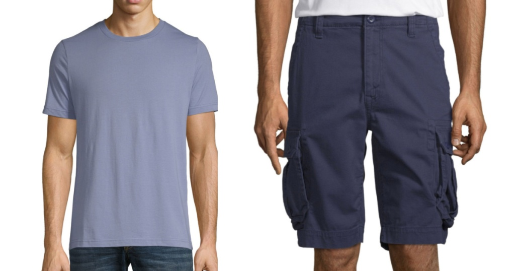 arizona mens styles purple v neck tee and blue cargo shorts