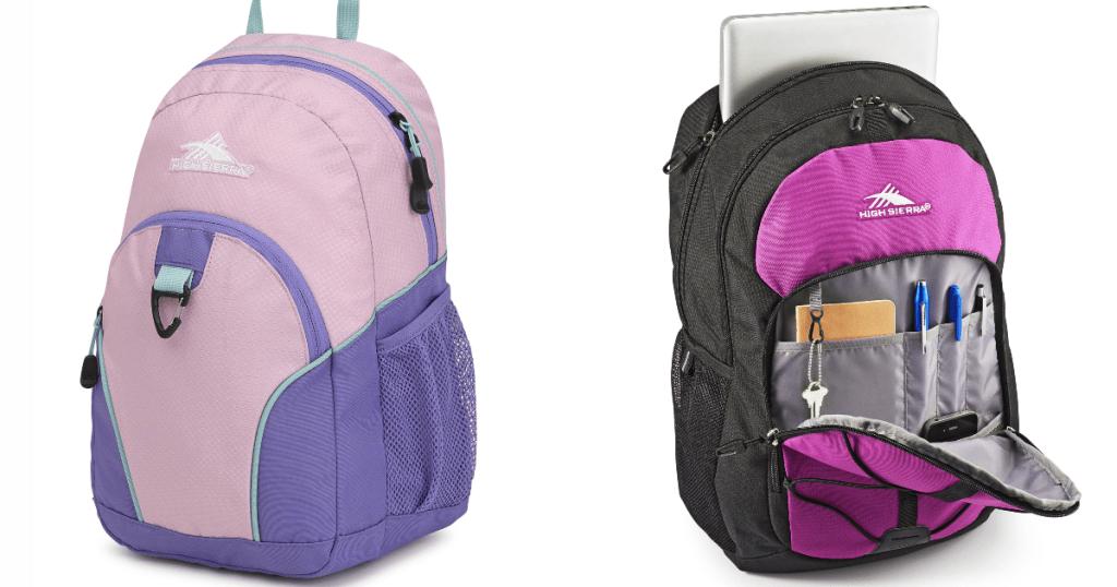 high sierra backpacks pink/ lavender min ibackpack and laptop backpack
