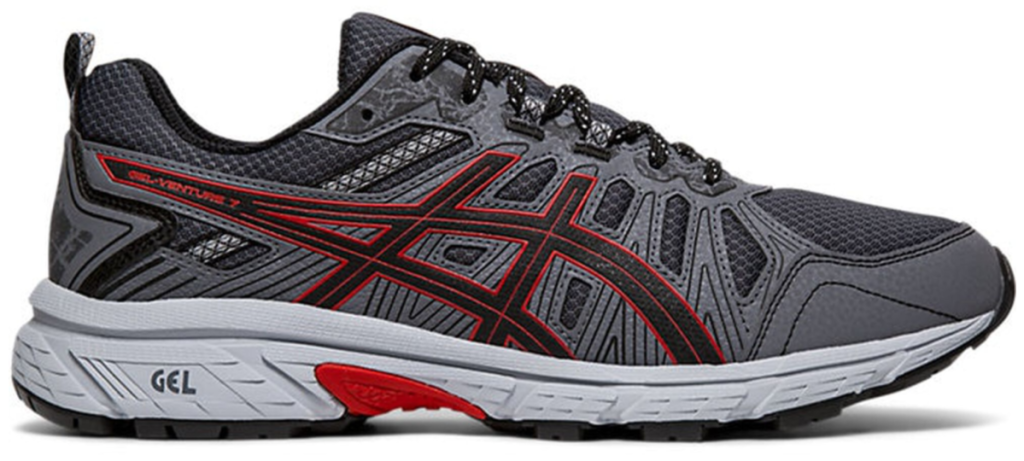 asics mens gel venture 7 shoe red and black