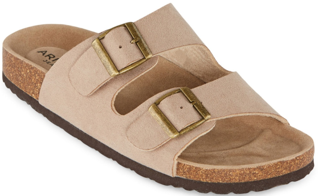 arizona flatbed sandals in tan