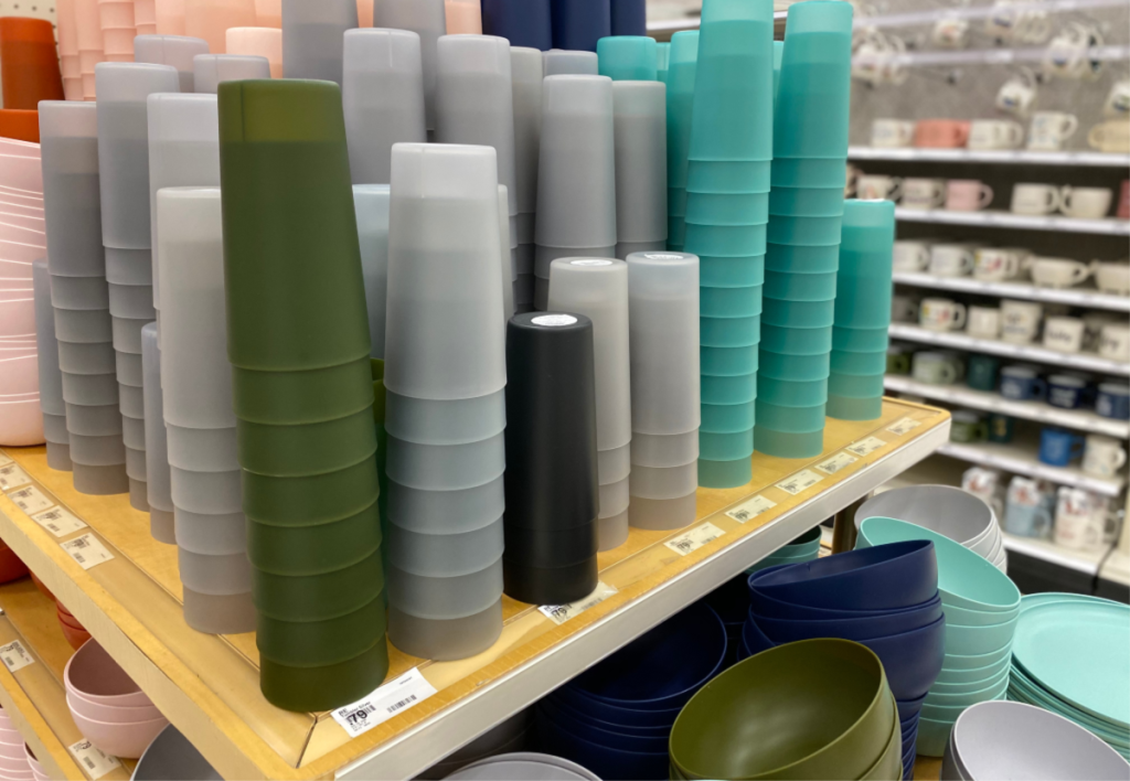 room essentials plastic dishes at target cups stacked