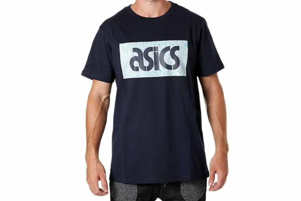 ASICS Men's graphic tee navy blue on man model