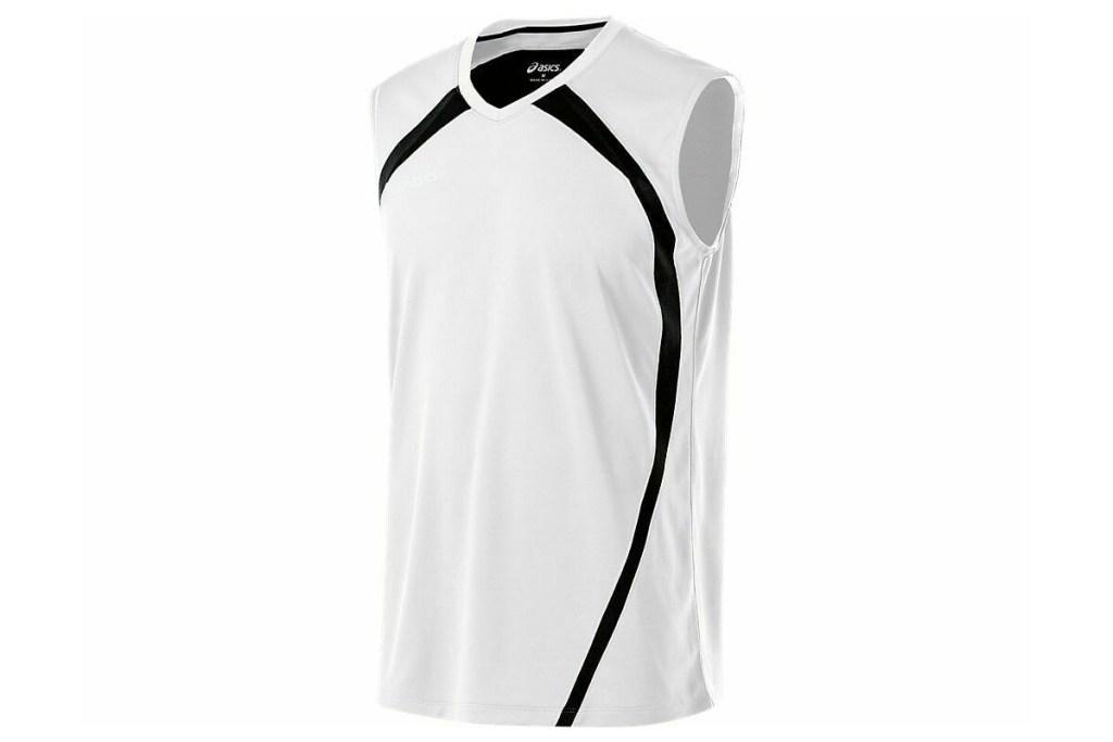 ASICS men's volleyball shirt black and white sleeveless tee