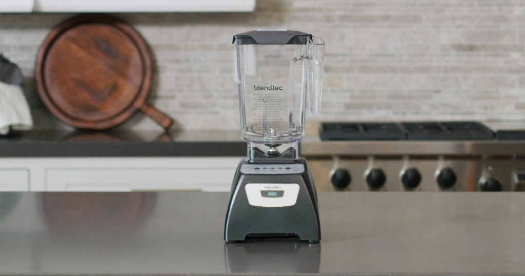 Blendtec Classic 570 Blender on counter top with nothing inside