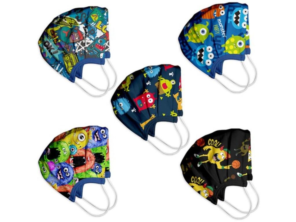 Blue Monster Assorted 5-Pack Kids Non-Medical Face Mask Set
