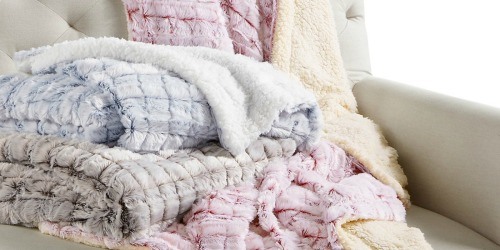 70% Off Cozy Blankets on Macys.com | Reversible Faux-Sherpa Throw Only $11.99 (Regularly $40)