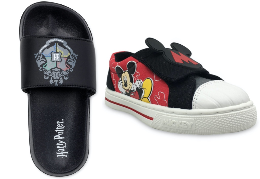 boys Harry Potter black slide and boys Mickey Mouse sneaker