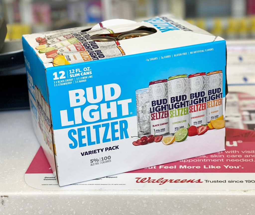 blue box of Bud Light Seltzer sitting on walgreens checkout counter