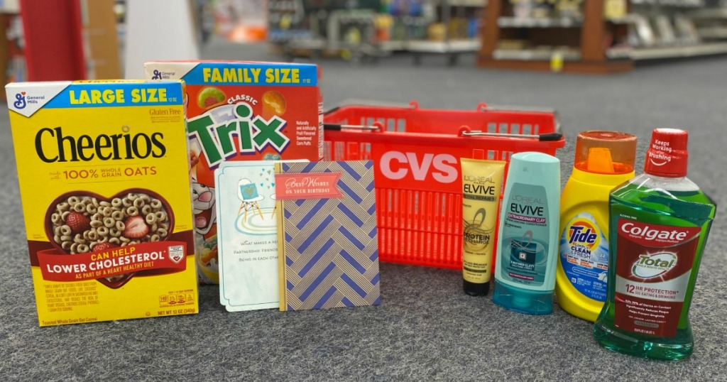 groceries and personal care items next to CVS basket