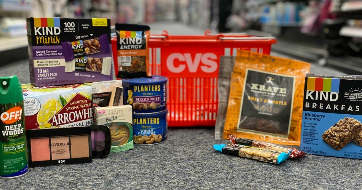 products surrounding a CVS basket