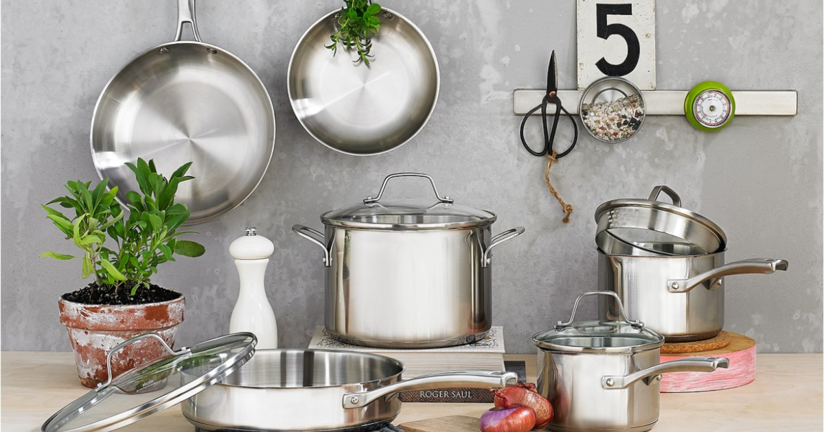 stainless steel cookware set on counter in home
