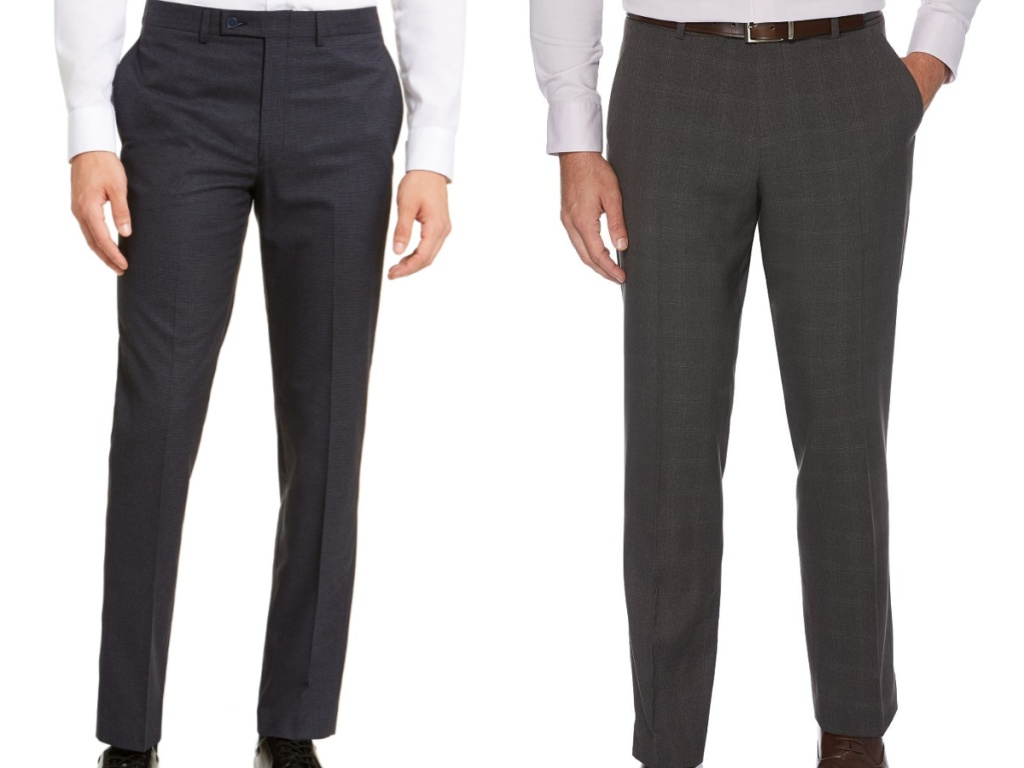 man in dark blue dress pants and man in grey dress pants