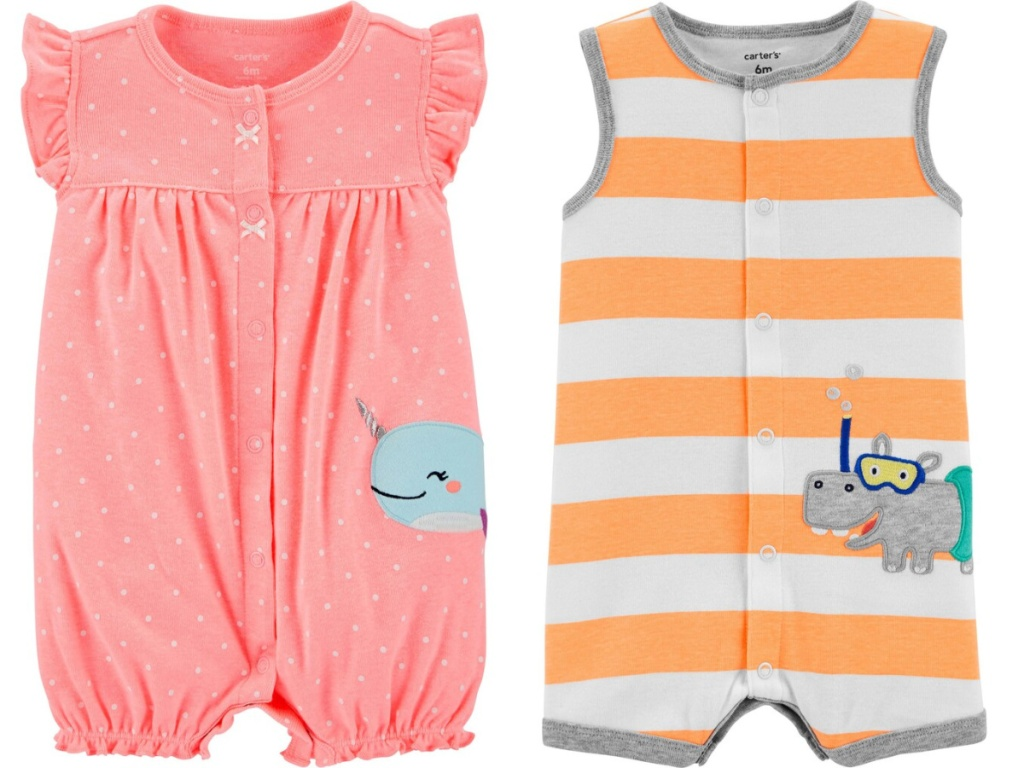 baby girl and baby boy romper