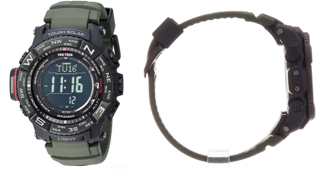 Casio Pro Trek Watch front view and side view