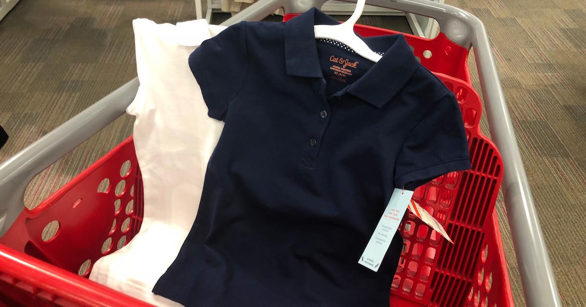 Cat & Jack Uniform Polos Girls in Target cart