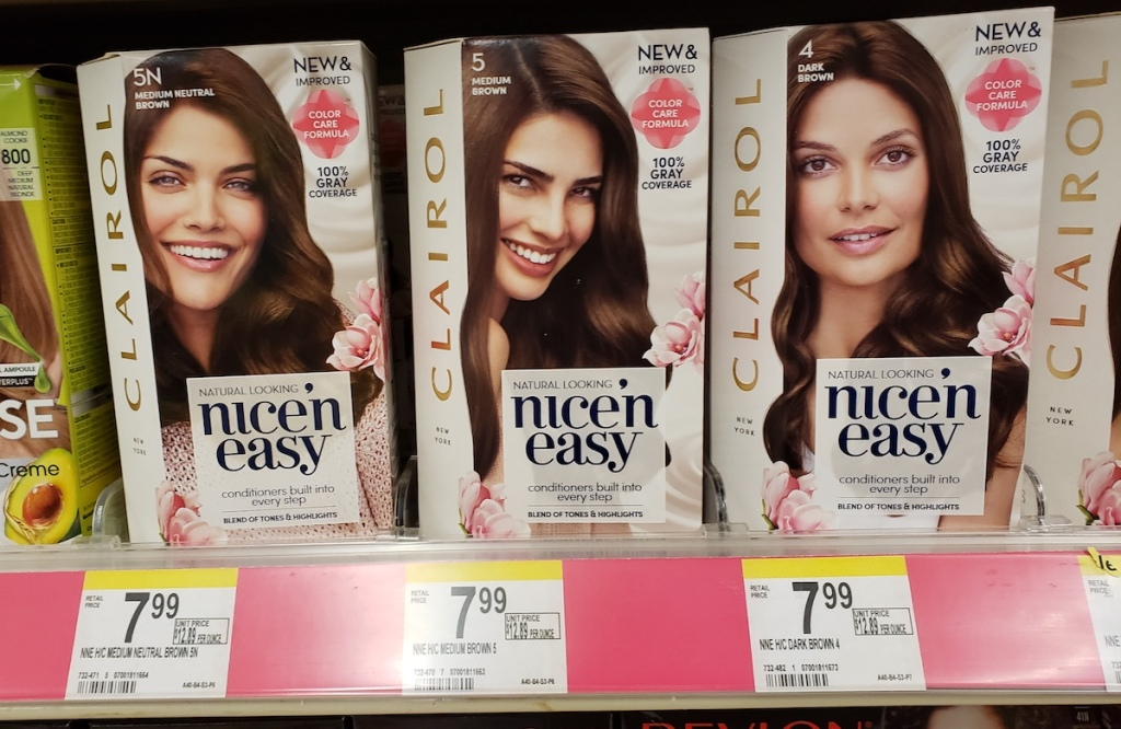 Clairol hair color on shelf at Walgreens