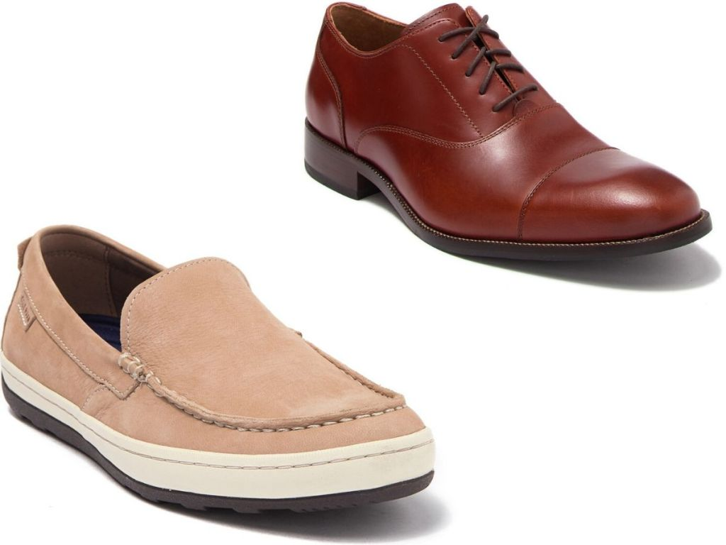 two right foot men's shoes