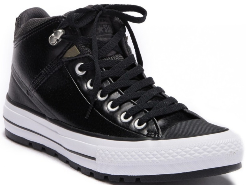 converse unisex mid-top leather lace up shoes
