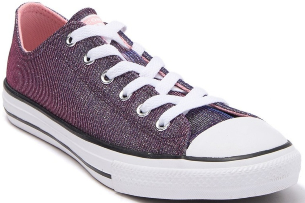 sprakly pink low top converse lace up shoes