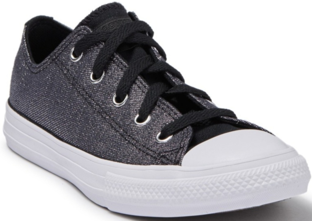 blackish grey low top converse lace up shoes