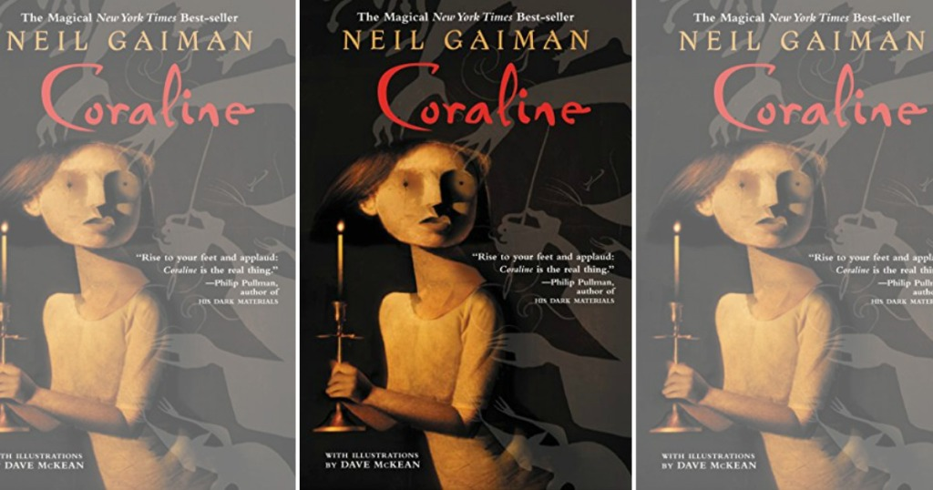 three images of Coraline book cover