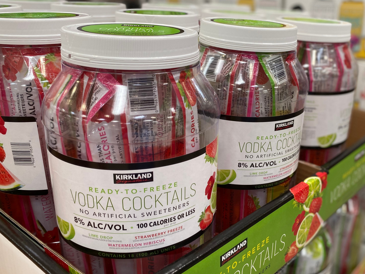 tubs of vodka cocktail pops stacked in store