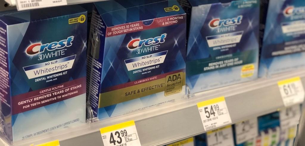 row of Crest whitestrips on shelf at Walgreens