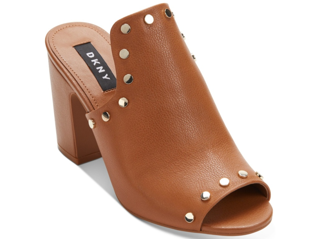 brown DKNY open-toed sandals with heel