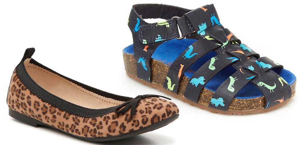 girls leopard print flats and boys dinosaur print cage sandal