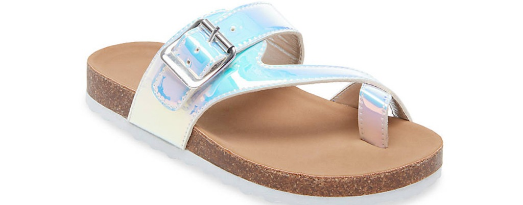 iridescent footbed sandal with silver buckle on strap